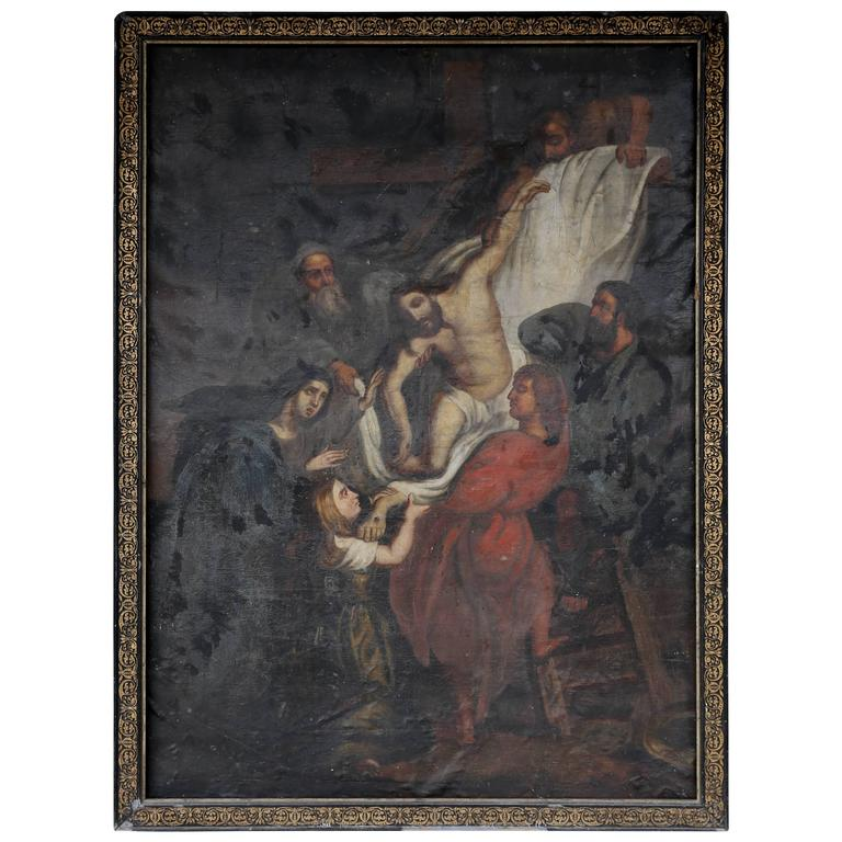 1800 S Colonial Scene On Demand: Antique French Religious Painting Of Christ From The Late 1800s At 1stdibs