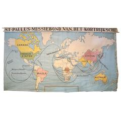 Antique Canvas World Wall Map of St. Paul's Church of Kortrijk, Belgium
