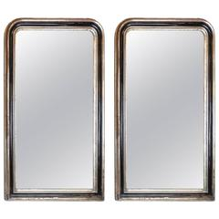 Pair of Large Antique French, Louis Philippe Mirrors with Black Painted Detail