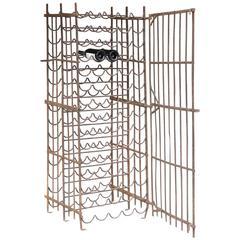 Antique French Standing Iron Wine Rack with Lockable Working Door