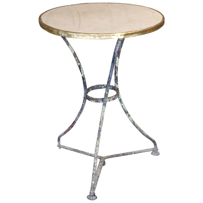Antique French Marble Iron And Brass Bistro Table 1