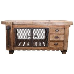 Late 19th Century Antique French Worktable Industrial Bar Console