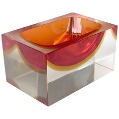 Flavio Poli Italian Murano Sommerso Glass Vide Poche