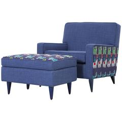 Paul McCobb Chair and Ottoman Reupholstered in Cotton and 1940s African Cloth