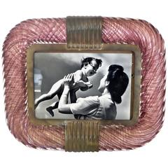 Venini 'Torciglione' Murano Glass Photo Frame with Gold Flakes
