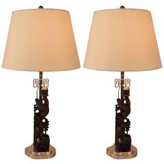 Pair of 19th Century Carved Rosewood Table Lamps