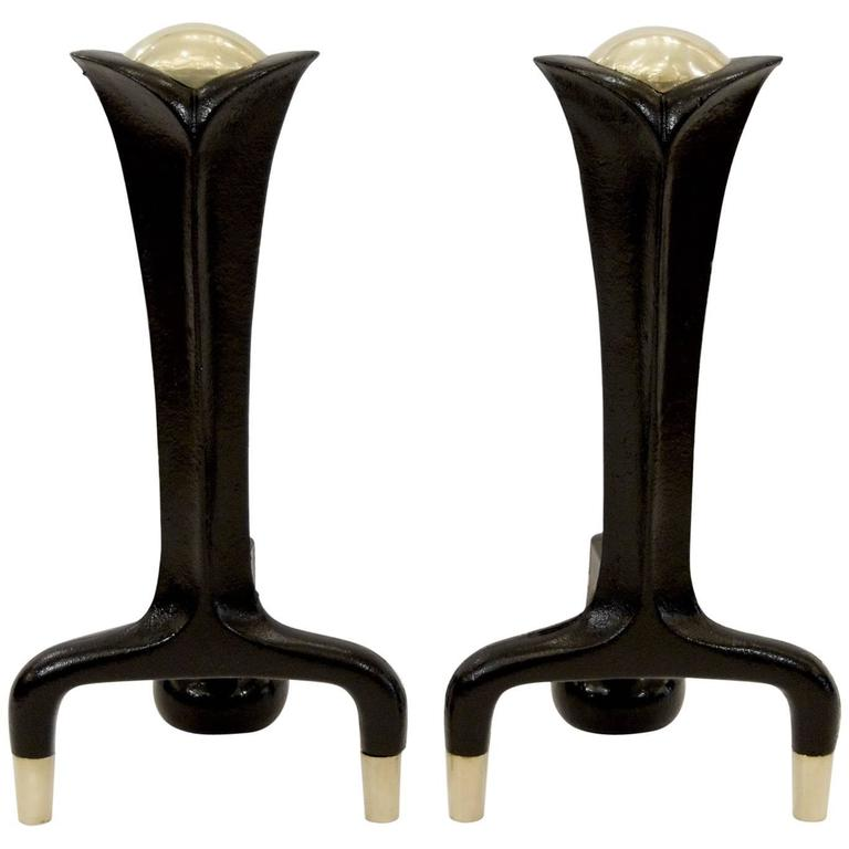 Iron and Brass Andirons by Donald Deskey For Sale