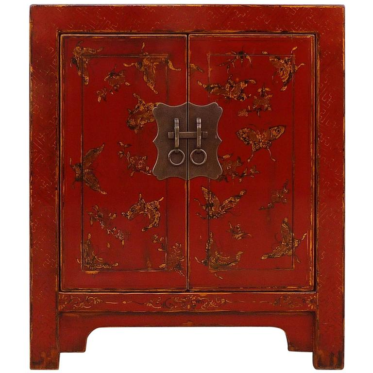 Fine Red Lacquer Chest with Gilt Motif Design For Sale