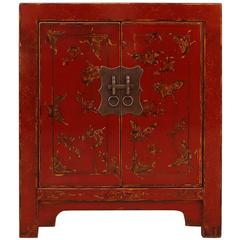 Fine Red Lacquer Chest with Gilt Motif Design