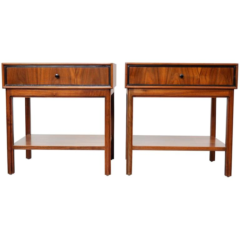 Pair of Milo Baughman for Arch Gordon Walnut Nightstands or Side Tables 1