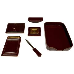 French Leather Desk Set in the Style of Jacques Adnet