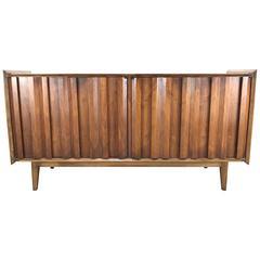 Modernist Walnut Cabinet/Server, Brutalist Louver Doors Made by Lane