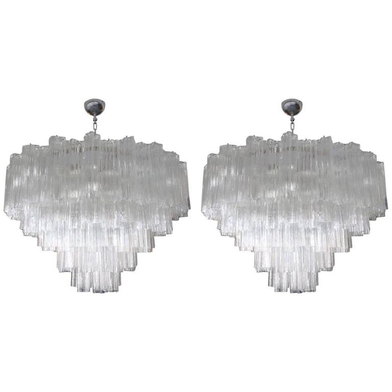 Pair of 1970s Tiered Mazzega Chandeliers