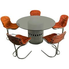 Sculptural Chrome and Glass Mid-Century Dining Table, circa 1960, Italy