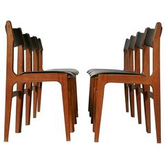 1970s Danish Teak and Naugahyde Dining Chairs, Set of Eight