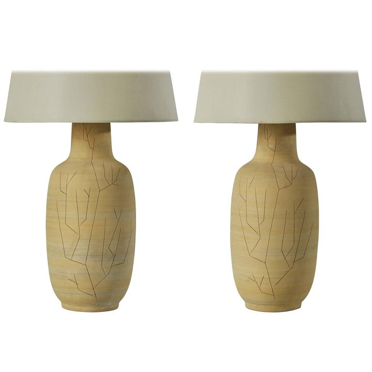 Pair of Hand Etched Ceramic Studio Table Lamps by Lee Rosen for Design Technics  For Sale