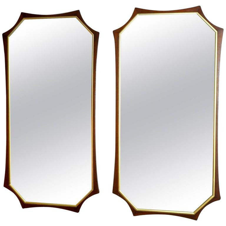 Pair of Sculptural Mid-Century Modern Walnut and Brass Mirrors For Sale