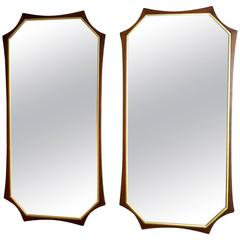 Pair of Sculptural Mid-Century Modern Walnut and Brass Mirrors