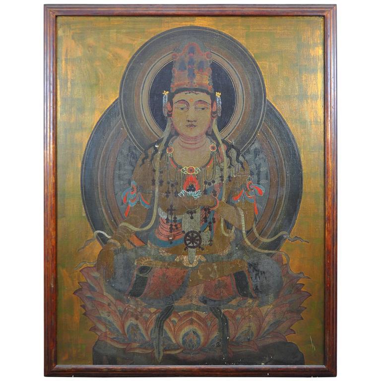 Monumental Medicine Buddha Oil Painting