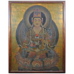 Monumental Antique Medicine Buddha Oil Painting