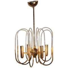 Minimal Design Gilt Metal 1970 Chandelier Sciolari