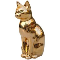 Late 20th Century Ceramic Cat with Gold Colored Glaze