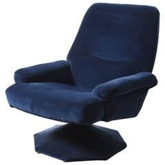 Original Blue Velvet Swivel 1960s Lounge Chair