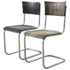 Pair Mart Stam Bauhaus S43 Cantilever Tubular Chairs, 1920s