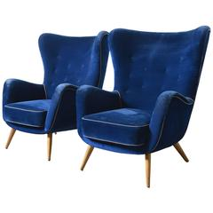 Set of two Large Italian Blue Velvet Wing Back Easy Chair, by Melchiorre Bega