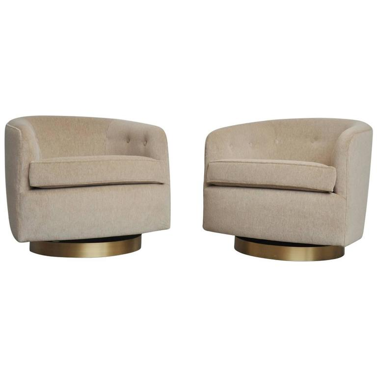 Exceptional Pair Of Milo Baughman Swivel Chairs On Brushed Bronze Bases For Sale