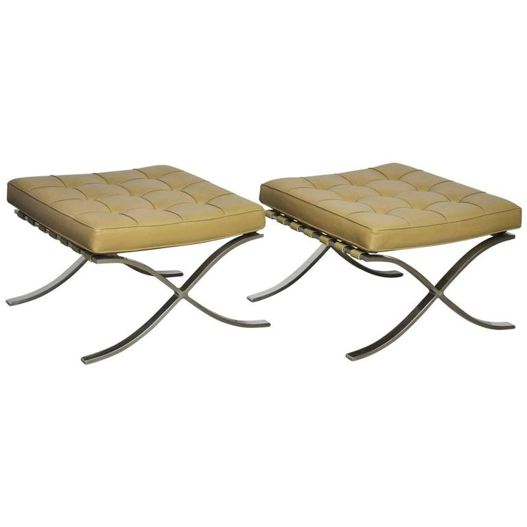 Barcelona Stools by Mies Van Der Rohe For Sale