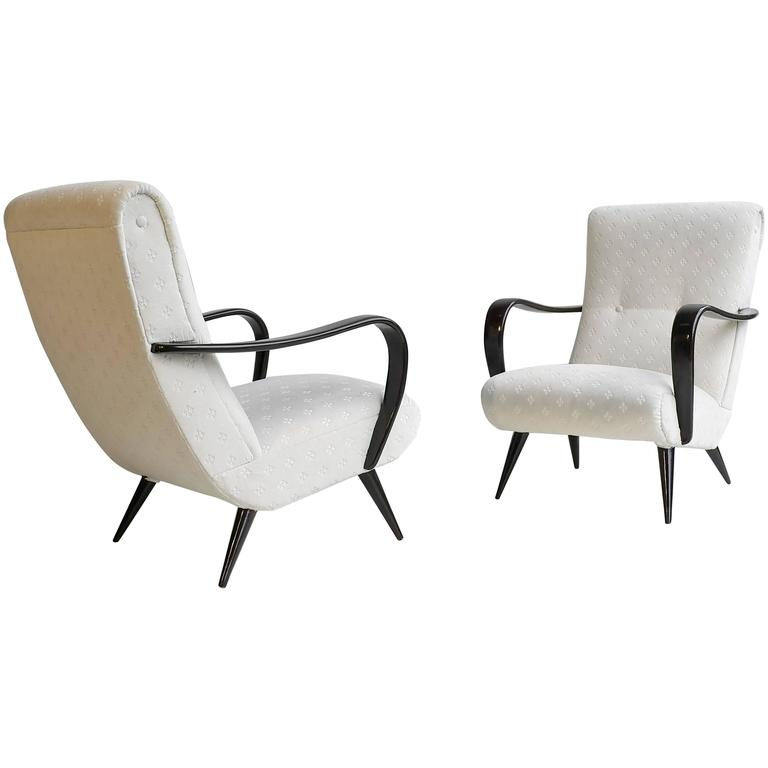 Pair of Sculptural Lounge Chairs with Curved Wooden Armrests, Italy, 1950s