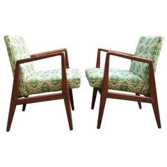 Pair of Jens Risom Design Modern Walnut Armchairs