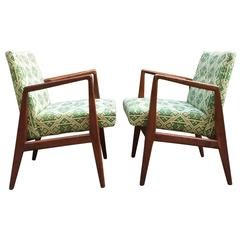 Pair of Jens Risom Design Modern Walnut Armchairs