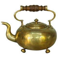 Early Victorian Brass Toddy Kettle, Fruit Wood Handle, circa 1840