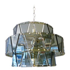 Italian Glass and Chrome Chandelier