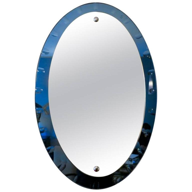 Italian Blue Glass Framed Mirror For Sale