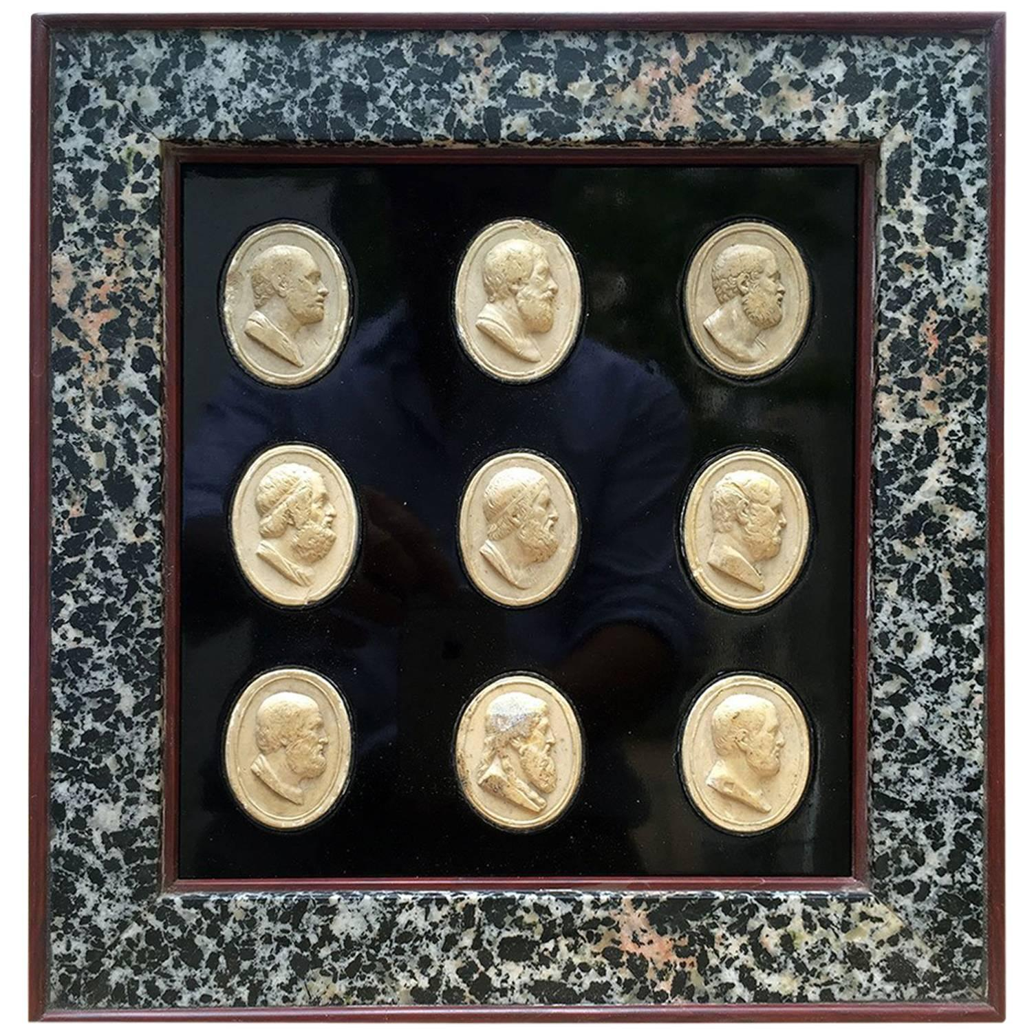19th Century Grand Tour Neoclassical Cameos Collection with Marble Frame
