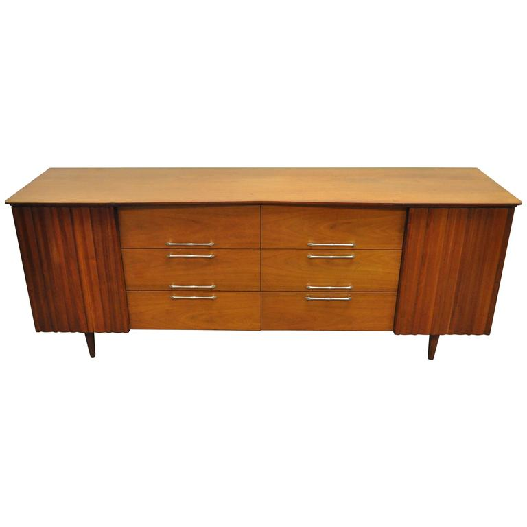 Vintage Mid Century Modern Danish Walnut Shaped Top Dresser Credenza Cabinet For