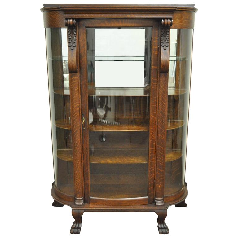 Antique Tiger Oak Bow Front Curved Glass and Mirror Curio Display China  Cabinet For Sale - Antique Tiger Oak Bow Front Curved Glass And Mirror Curio Display