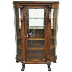 Antique Tiger Oak Bow Front Curved Glass and Mirror Curio Display China Cabinet