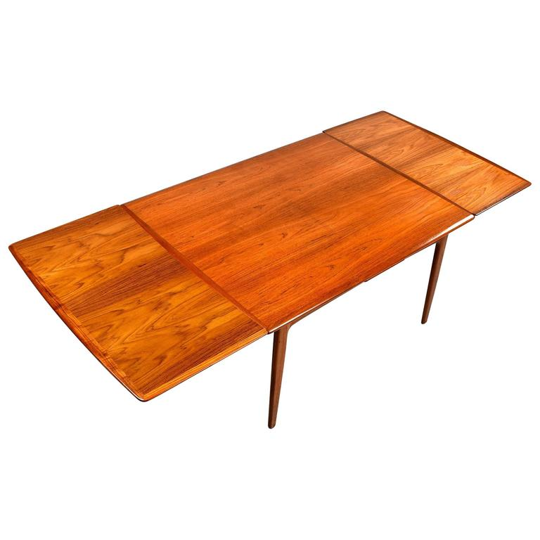 Teak Extendable Coffee Table: Arne Vodder Teak Extendable Draw Leaf Dining Table, 1950s