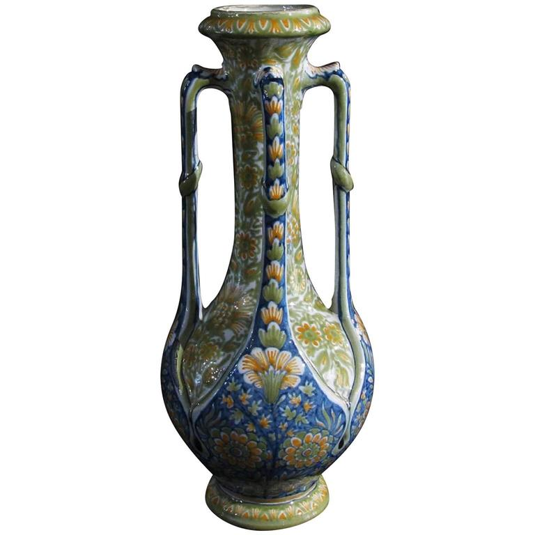 French Art-Nouveau Polychrome Majolica Vase with Four Handles by Gibus and Redon