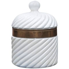 Tommaso Barbi Hollywood Regency Style Porcelain Ice Bucket, Italy, 1970