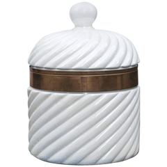 Tommaso Barbi Hollywood Regency Style Porcelain Ice Bucket, Italy, 1970