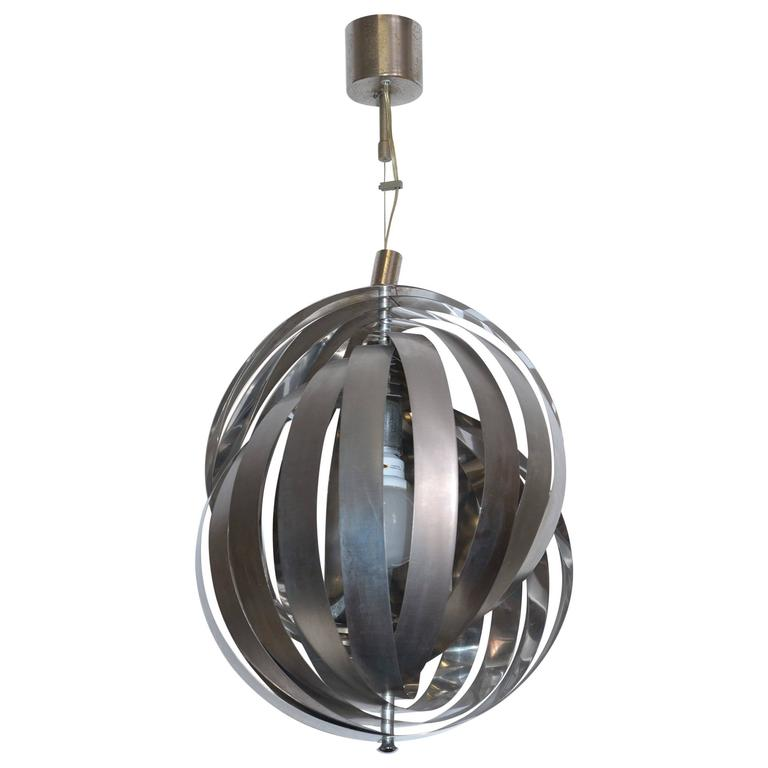 Mid-Century Italian Steel Chandelier by Stilnovo