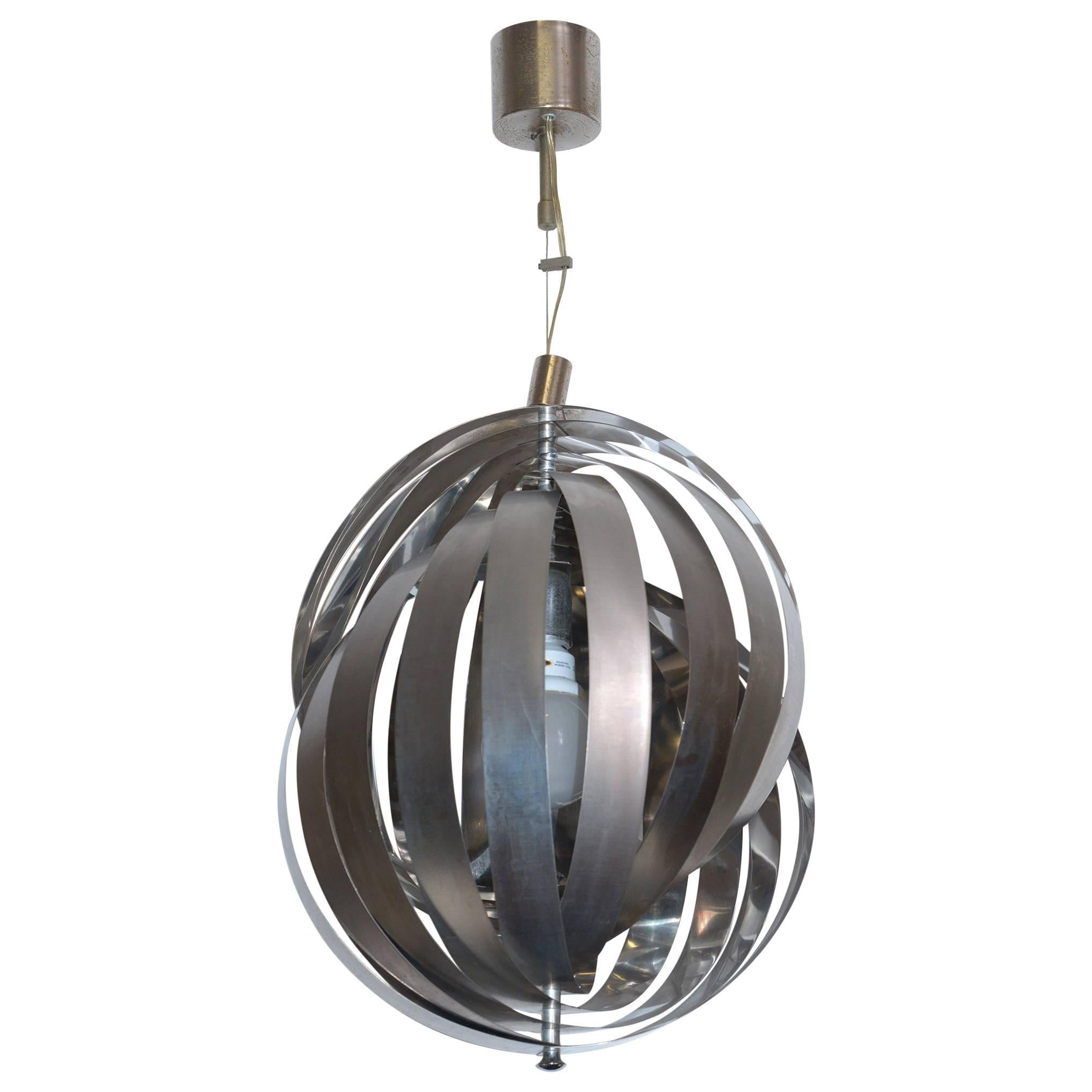 Stilnovo Mid-Century Italian Steel Chandelier ,1960's