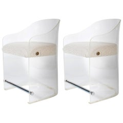 Pair of Mid-Century Lucite Armchairs, Cromed Details, 1960s
