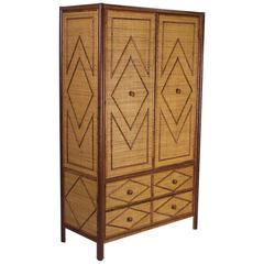 Mid-Century Faux Bamboo and Grass Cloth Armoire