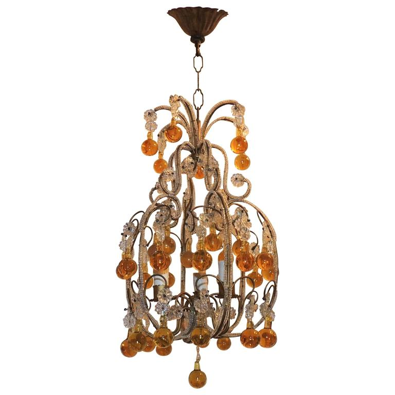 Whimsical beaded italian three light amber crystal chandelier whimsical beaded italian three light amber crystal chandelier pendent fixture for sale aloadofball Gallery